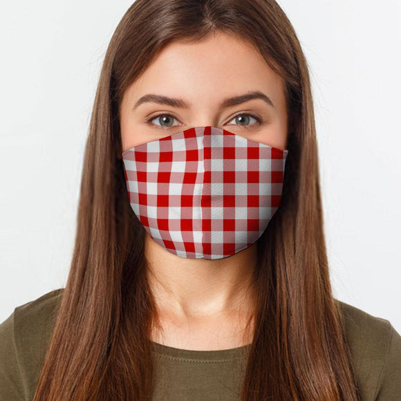 Red Gingham Face Cover Mask Made In USA