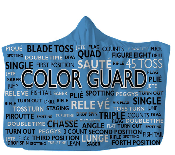 Blue Color Guard Hooded Blanket  Made In USA