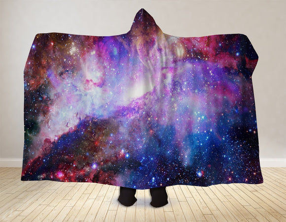 Blue Galaxy Hooded Blanket  Made In USA