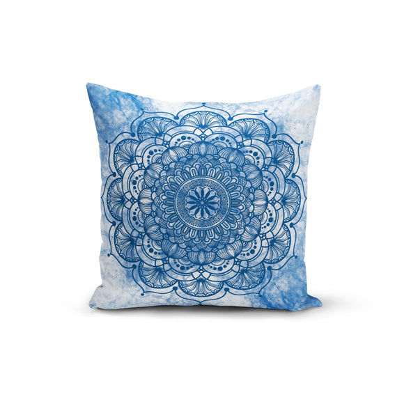Blue Mandala Pillow Cover Made In USA