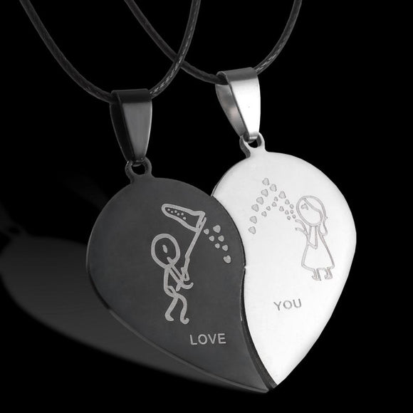 Couples  Broken Heart Black Necklace Stainless Steel Pendants Necklace