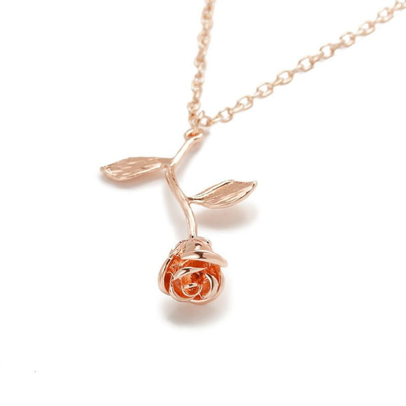 Alloy Rose Pendant Necklace