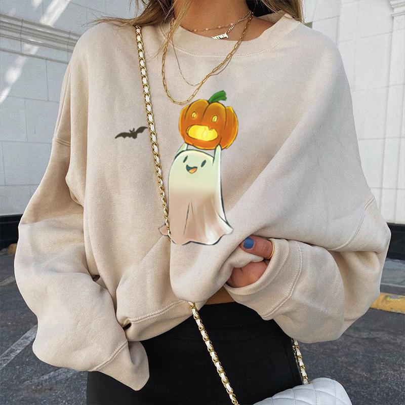 Ghost pumpkin bat designer print casual sweatshirt