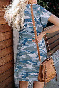 Camouflage Print Short Sleeve Dress