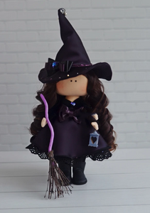 Witch Rag Doll, Halloween Art Doll, Soft Cloth Doll, Fabric Rag Doll by Maria K