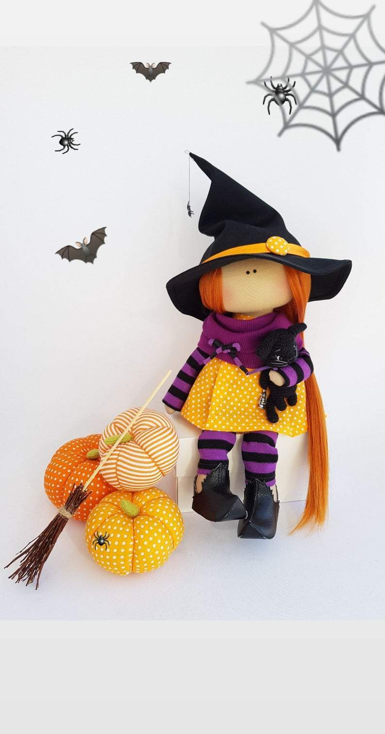 Witch Doll Handmade, Halloween Interior Decor Doll, Tilda Art Doll, Home Decoration Doll, Special Holiday Rag Doll for Nursery