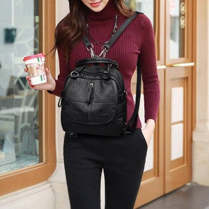 Female Fashion Leather Multipurpose Backpack