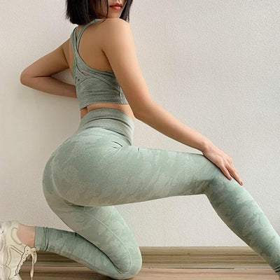 VERXE CAMO SEAMLESS HIGH WAIST LEGGINGS - GREEN - The Verxe - A Lifestyle Brand