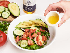 Try Fresh Vintage Farms cold pressed & roasted almond oil as a stand alone salad dressing or pair it with your favorite balsamic. Our Almond Oil inherently has a nutty flavor, which is a great complement to your salad creations.