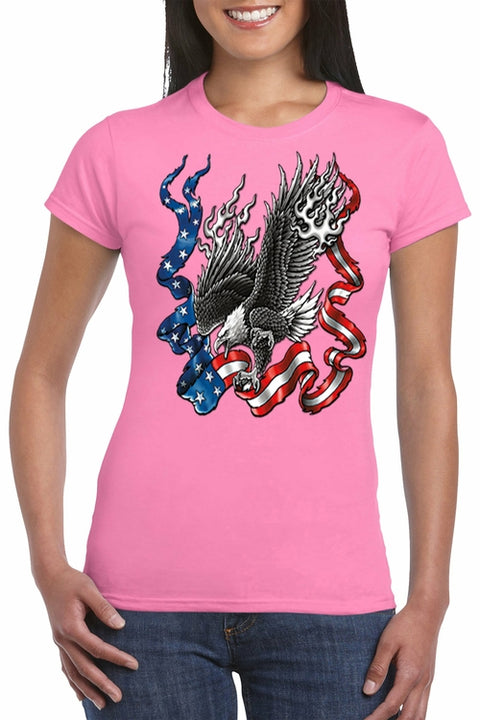 Flaming Patriotic American Eagle T-Shirt - myhoody