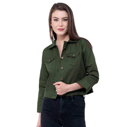 SupaStyle Self Design Plan Women Cotton Jacket (Green)