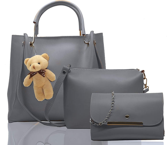Supastyle PU Leather Latest Stylish Handbags For Women's Ladies Combo Of 3 (Grey_Teddy_FGO-239)