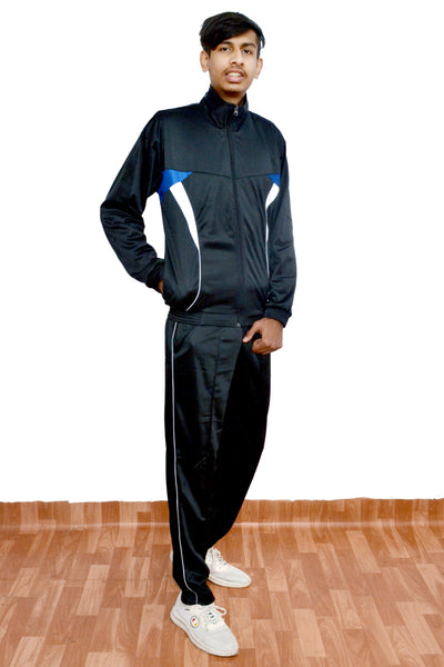 SupaStyle Superb Striped Tracksuit for Men/Ideal for Casual WEAR & Sports (Black)