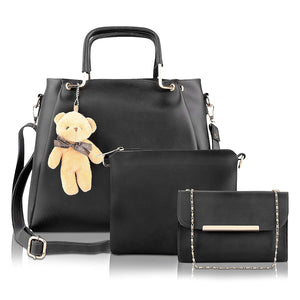 Supastyle Women's PU Leather Handbag (Black) Combo Set of 3