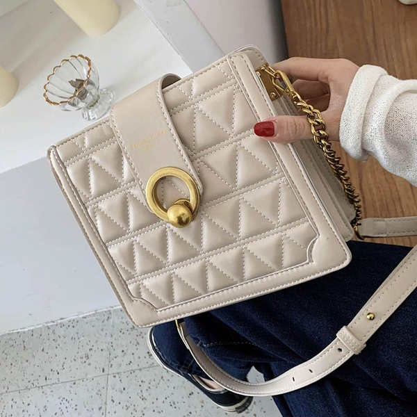 Metal Lock Quilted Chain Crossbody Bag