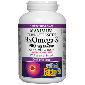 Natural Factors RxOmega 3 Maximum Triple Strength With D3 1000IU 150 Enteric Softgels