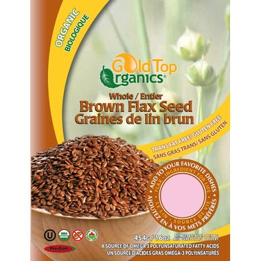 Gold Top Organics Whole Brown Flax Seeds 454g