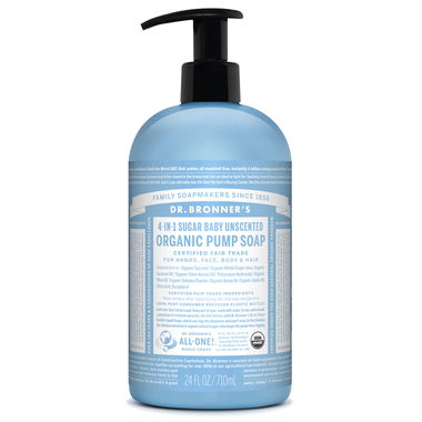 Dr. Bronner's 4-in-1 Sugar Baby Unscented Organic Pump Soap