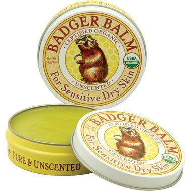 Badger Dry Sensitive Skin Balm Unscented, 51g