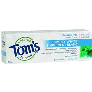 Tom's of Maine Simply White Fluoride-Free Plus Toothpaste peppermint 85 mL