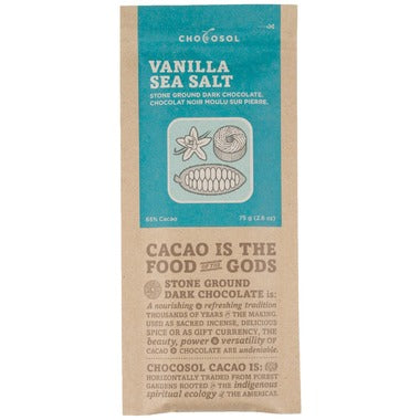 ChocoSol Vanilla Sea Salt Stone Ground Dark Chocolate