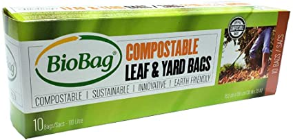 Biobag Compostable and Biodegradable Lawn and Leaf Bags for Yard Waste, 110 Litre, 10 Count
