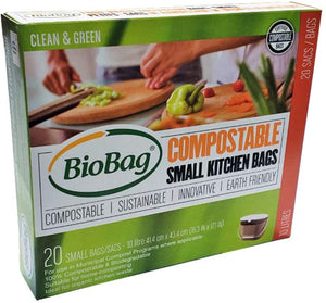 BioBag Small Compostable and Biodegradable Kitchen Bags for Food Scraps, 10 Litre, 20 Count