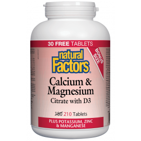 Natural Factors Calcium & Magnesium Citrate With D3 180+30 Tablets