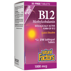 Natural Factors Vitamin B12 Methylcobalamine 1000mcg 210 Tablets Bonus Size
