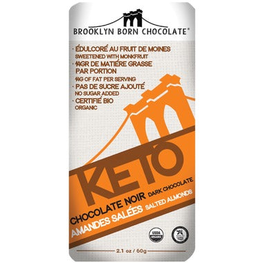 Brooklyn Born Chocolate Salted Almonds Keto Chocolate  60g