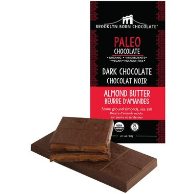 Brooklyn Born Chocolate Almond Butter Paleo Dark Chocolate 60g