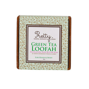 Pretty Green Tea Loofah Soap Bar 90g