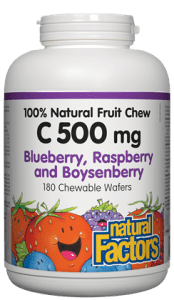 Natural Factors C 500 mg 100% Natural Fruit Chew, Blueberry, Raspberry and Boysenberry
