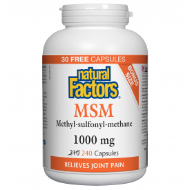 Natural Factors MSM 1000mg Bonus Size 240 Capsules