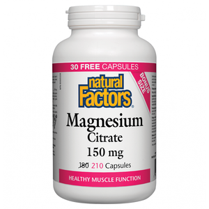 Natural Factors Magnesium Citrate 150mg Bonus Size 210 Capsules