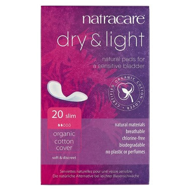 Natracare Dry & Light Incontinence Pads, 20 slim