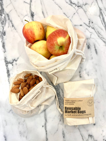 Reusable Market Bags, 2 bag kit (1 small, 1 medium)