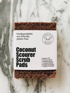 Coconut Scourer Scrub Pads, 100% plant based and compostable, pack of 2