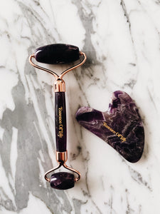 The Perfect Duo: Purple Amethyst Gua Sha Tool and Roller