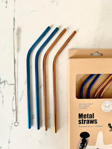 Metal Straws, starter kit of 4 straws and 1 cleaner