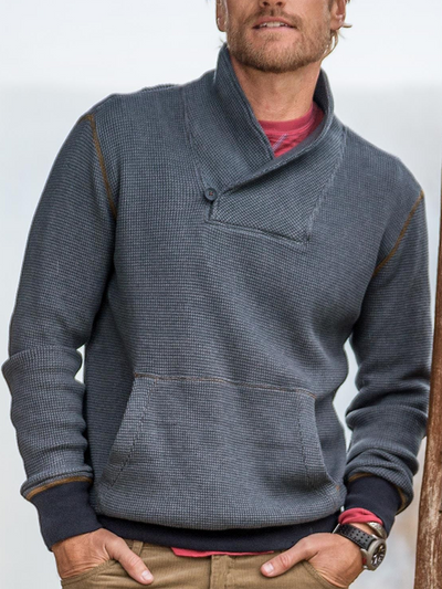 Blue Plain Casual Shawl Neck Sweatshirt