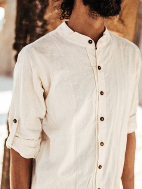 White Stand Collar Cotton Shirts & Tops