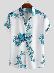 Single breasted printed short sleeve shirt for men