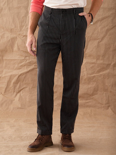 Black Casual Striped Pants