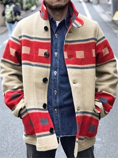Men's Red Printed Tribal Basic Outerwear