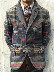Navyblue Casual Tribal Outerwear