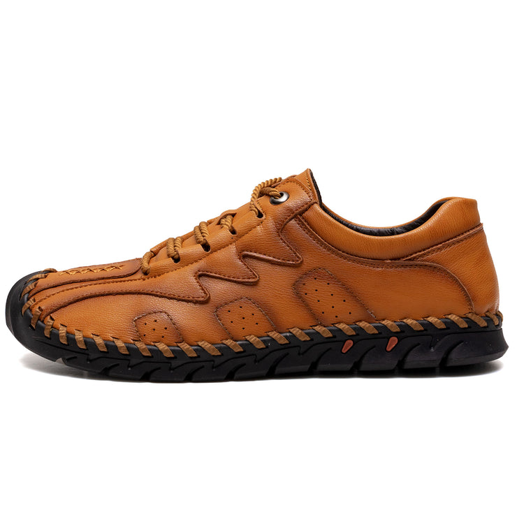 Large Size Men Hand Stitching Side Zipper Casual Leather Shoes