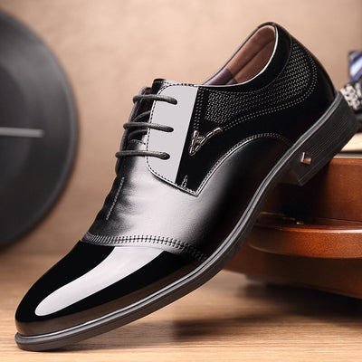 Men Microfiber Leather Splicing Non Slip Business Casual Formal Shoes