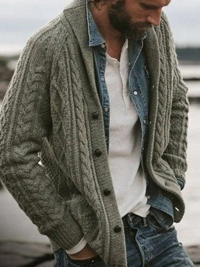 Casual Lapel Cotton-Blend Sweater