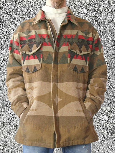 Men's Khaki Wool Blend Vintage Outerwear